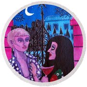 Romantic Couple Round Beach Towel by Don Pedro De Gracia