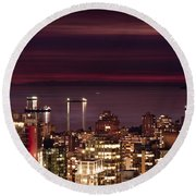 Round Beach Towel featuring the photograph Romantic English Bay Mdcci by Amyn Nasser