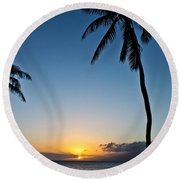 Romantic Maui Sunset Round Beach Towel