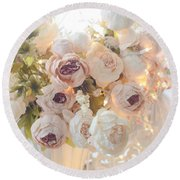 Romantic Shabby Chic Dreamy Pink And White Peonies - Shabby Chic Peonies In Basket Round Beach Towel
