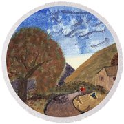 Round Beach Towel featuring the painting Romantic Walk by Tracey Williams