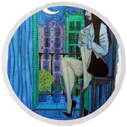 Round Beach Towel featuring the painting Romantic Woman At Balcony by Don Pedro De Gracia