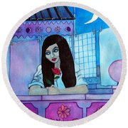 Romantic Woman In The Terrace At Night Round Beach Towel by Don Pedro De Gracia