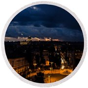 Rome Cityscape At Night  Round Beach Towel