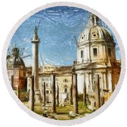 Rome Italy - Drawing Round Beach Towel