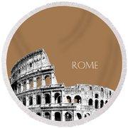 Rome Skyline The Coliseum - Brown Round Beach Towel