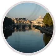 Round Beach Towel featuring the photograph Rome Waking Up by Georgia Mizuleva