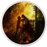 Romeo And Juliet - The Love Story Round Beach Towel by Lilia D