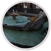 Rome's Fabulous Fountains - Fontana Della Barcaccia At The Spanish Steps  Round Beach Towel