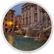 Rome's Fabulous Fountains - Trevi Fountain At Dawn Round Beach Towel by Georgia Mizuleva