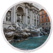 Rome's Fabulous Fountains - Trevi Fountain No Tourists Round Beach Towel