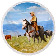 Ron And  Cash At Work Round Beach Towel
