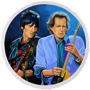 Ron Wood And Keith Richards Round Beach Towel by Paul Meijering