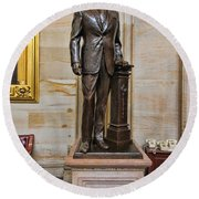 Ronald Regan -  U S Capitol Statuary Hall Round Beach Towel by Allen Beatty