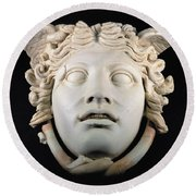 Rondanini Medusa, Copy Of A 5th Century Bc Greek Marble Original, Roman Plaster Round Beach Towel