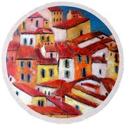Rooftops Collioure Round Beach Towel