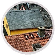 Round Beach Towel featuring the photograph Rooftops by Nick  Biemans