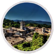 Round Beach Towel featuring the photograph Rooftops by Tom Prendergast