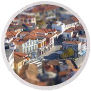 Round Beach Towel featuring the photograph Rooftops by Vicki Spindler