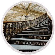 Rookery Building Atrium Staircase Round Beach Towel
