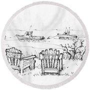 Room For Two Monhegan Island 1993 Round Beach Towel