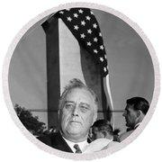 Roosevelt At Gettysburg Round Beach Towel