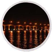 Round Beach Towel featuring the photograph Roosevelt Bridge Panorama by Olga Hamilton