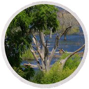 Roosevelt Lake Rising To New Height Round Beach Towel by Tom Janca