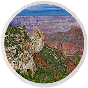 Roosevelt Point Two On North Rim/grand Canyon National Park-arizona   Round Beach Towel