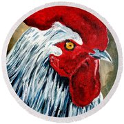 Round Beach Towel featuring the painting Rooster Doodle by Julie Brugh Riffey