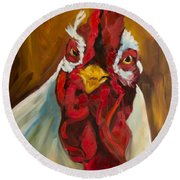 Rooster Face Round Beach Towel