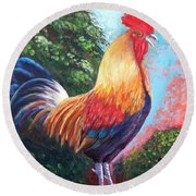 Rooster For Elaine Round Beach Towel