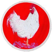 Rooster For The Cafe Round Beach Towel by Jan Matson