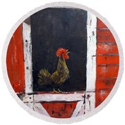 Rooster In Window Round Beach Towel