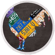 Rooster Recycled License Plate Art On Gray Wood Round Beach Towel