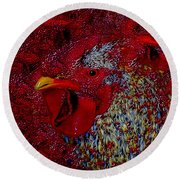 Rooster Red Round Beach Towel