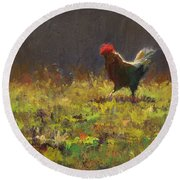 Rooster Strut - Impressionistic Chicken Landscape - Abstract Farm Art - Chicken Art - Farm Decor Round Beach Towel