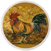 Rooster With Attitude Round Beach Towel