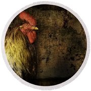 Round Beach Towel featuring the mixed media Rooster With Brush Calligraphy Loyalty by Peter v Quenter