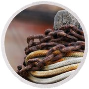 Round Beach Towel featuring the photograph Rope And Chain by Wendy Wilton