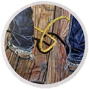 Roping Boots Round Beach Towel by Marilyn  McNish