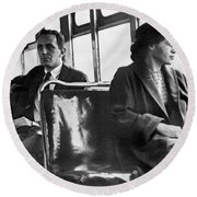 Rosa Parks On Bus Round Beach Towel