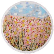 Rosa Ruby Flower Garden Round Beach Towel
