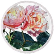 Pink And Yellow Rose Anne Round Beach Towel