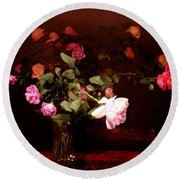 Rose Bouquet Round Beach Towel