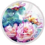 Round Beach Towel featuring the painting Pink Rose Bush by Greta Corens