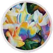 Round Beach Towel featuring the painting Rose Cluster Half by Kathy Braud