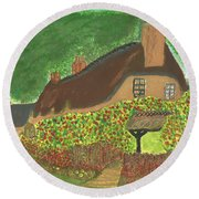 Rose Cottage Round Beach Towel