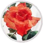 Watercolor Of A Single Red Rose I Call Red Rose Filip Round Beach Towel