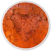 Rose Gold Mixed Media Triptych Part 3 Round Beach Towel